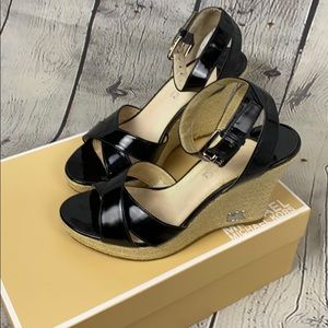 Michael Kors Patent Kami Ankle Strap Wedge Sandals